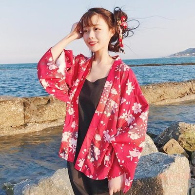 夏裝新款女裝韓版少女少女開衫和風和服花朵印花學生防?衣薄外套   全館免運