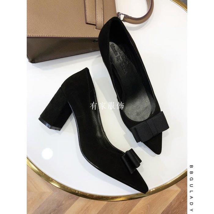 有家服飾韓國BB古磨砂羊皮春秋新淺口尖頭蝴蝶結黑色粗跟高跟鞋低跟單鞋女