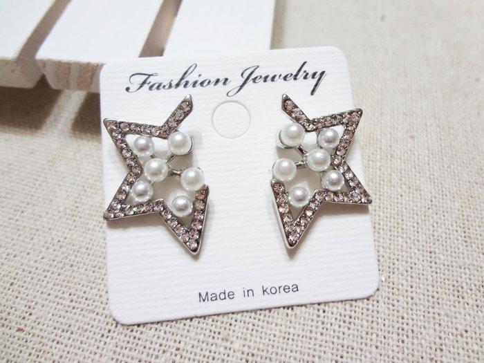 【Love Trina】A3112B-8136 氣質五角星星+珍珠針式耳環--鋼針(1色)