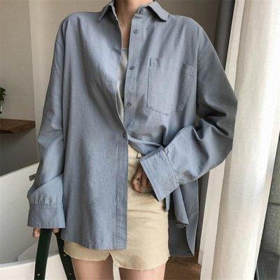 棉麻上衣 新韓版范寬鬆長袖棉麻襯衫女百搭顯瘦中長款上衣