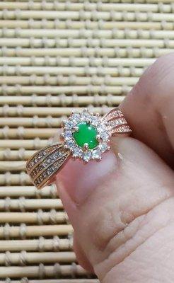 天然翡翠A貨~冰果綠玫瑰金銀戒,標有S925銀