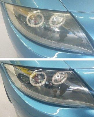 大燈快潔現場施工 BMW 寶馬 Z4 原廠車大燈泛黃霧化拋光修復翻新處理