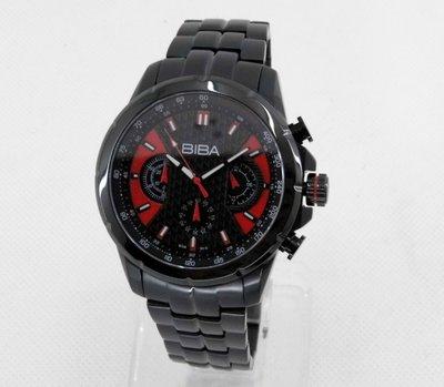 【幸福媽咪】網路購物、門市服務 BIBA 碧寶錶 三眼計時碼錶 男錶/黑紅 44mm 型號:B76BS016H