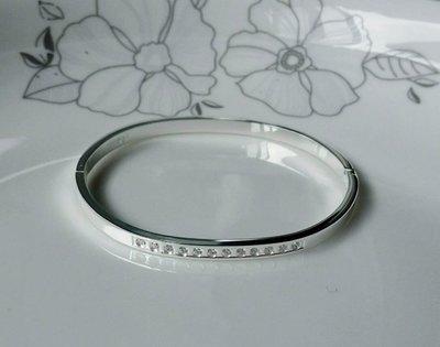 嗨,寶貝銀飾珠寶* 925純銀☆999純銀 時尚 造型 氣質 排鑽 鋯石實心開口純銀手環 手鐲