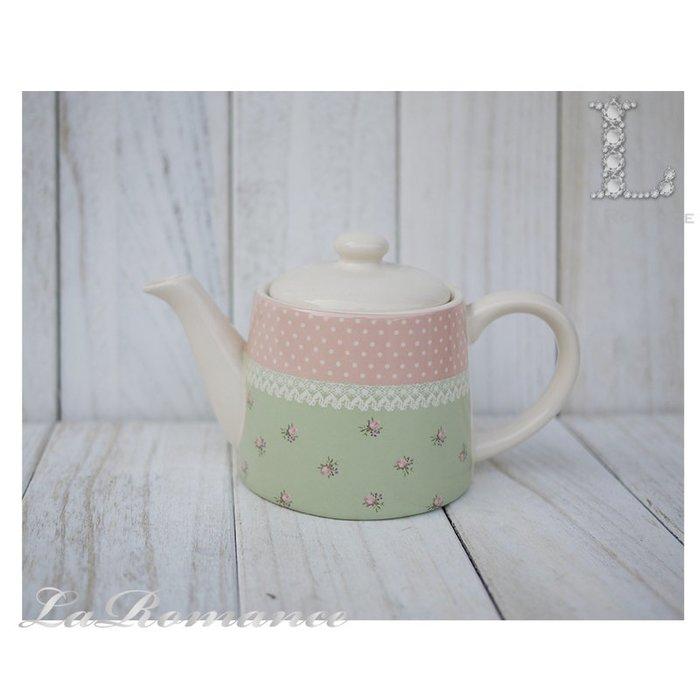 【荷蘭 Clayre & Eef 特惠系列】粉綠圓點花朵茶壺 (小) / 餐具 / 鄉村風 / 童趣