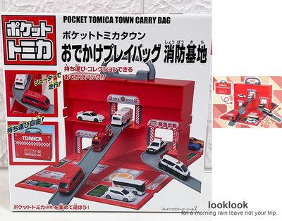 【全新日本景品】TOMICA TOMY 多美小汽車 攜帶式手提盒消防署玩具組
