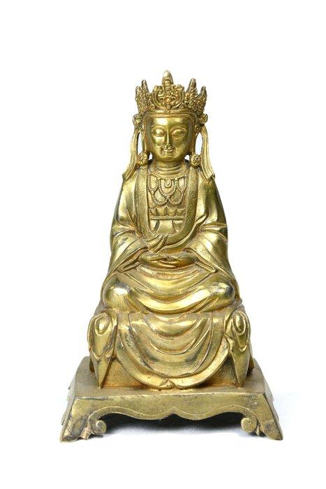 《博古珍藏》明永樂.銅鎏金阿彌陀佛坐像.西藏密宗.早期收藏.老件.高24公分.信徒結緣.超值回饋