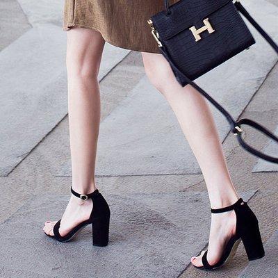 ☜男神閣☞2018夏季新款百搭正韓學生女鞋黑色羅馬中跟高跟粗跟一字扣帶涼鞋