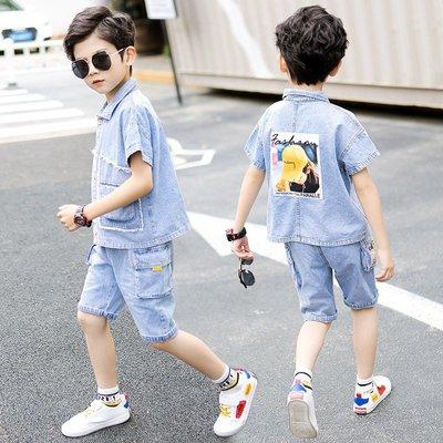hello小店-男童夏裝短袖牛仔套裝帥氣韓版潮衣小男孩中童薄款襯衫洋氣兩件套#兒童上衣#襯衫#短袖t恤#