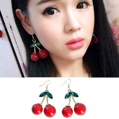 ╭✿蕾兒0509✿╮LB001-日系雜誌款可口蜜蜜櫻桃誇張耳釘耳鉤耳環耳飾品
