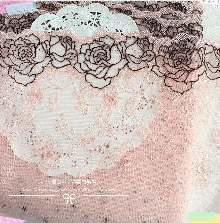 『ღIAsa 愛莎ღ手作雜貨』寬22.5cm日單複古粉色玫瑰鈴蘭花朵刺繡網紗蕾絲diy服裝輔料