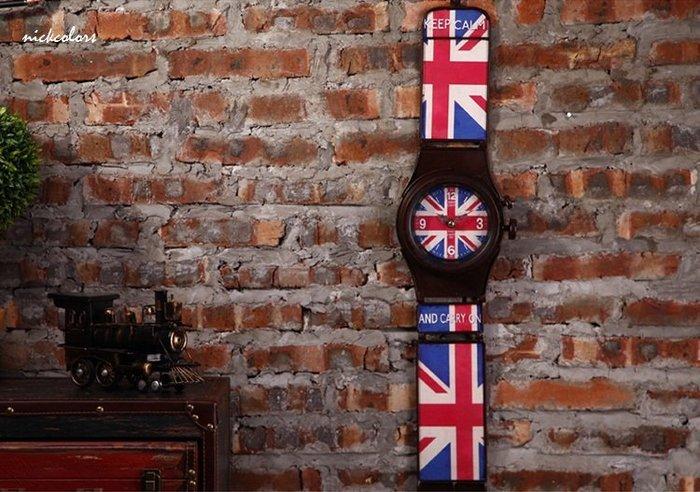 尼克卡樂斯~英式復古手錶造型掛鐘  復古靜音時鐘 餐廳咖啡廳時鐘 客廳臥室掛鐘 工業風掛鐘 北歐風掛鐘