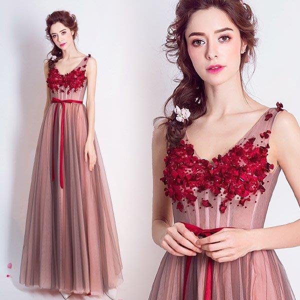 天使嫁衣 夢幻胭脂粉色新娘結婚敬酒服生日晚宴年會婚紗禮服5946
