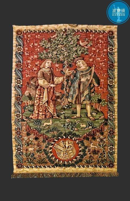 【波賽頓-歐洲古董拍賣】歐洲/西洋古董 法國古董 19世紀 法國老壁毯/掛毯(尺寸:200x177cm)(年份:1900~1920年)
