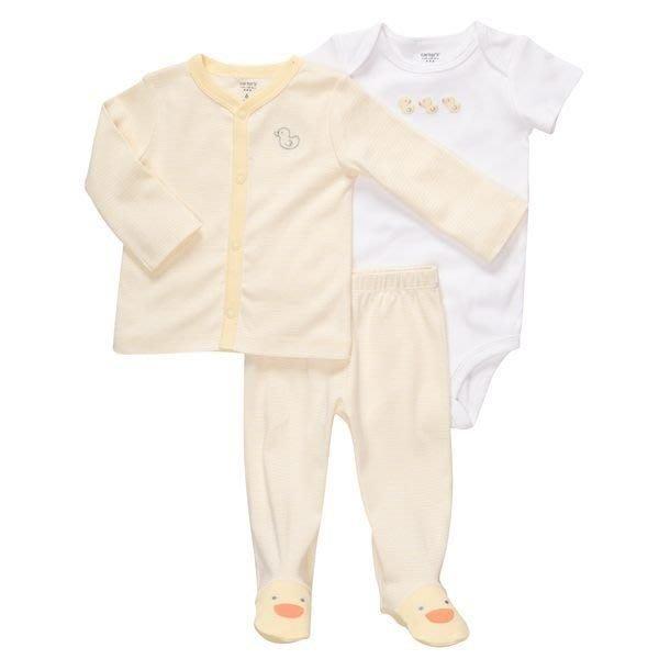 【Nicholes歐美進口優質童裝】Carters黃色小鴨短袖包屁衣+長袖外套+包腳長褲 三件組 彌月/生日