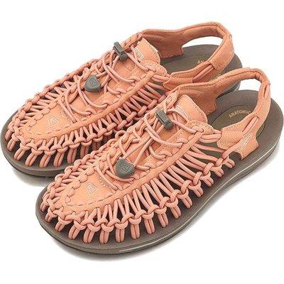 =CodE= KEEN UNEEK SLICE FADE SANDALS編織彈性綁繩涼鞋(粉橘)1019937 拖鞋 女