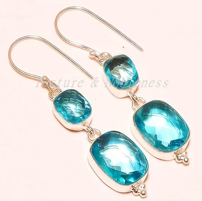 【Texture & Nobleness 低調與奢華】天然無處理 低調原創珠寶瑞士藍托帕石耳鈎一對 純銀SV925