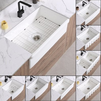 水槽美式現代家用廚房陶瓷水槽老式前置半嵌入式洗菜盆Farmhouse sink