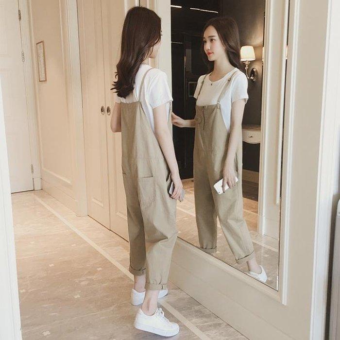 新款夏韓版寬鬆森女系bf原宿學生九分減齡吊帶褲女兩件套裝潮