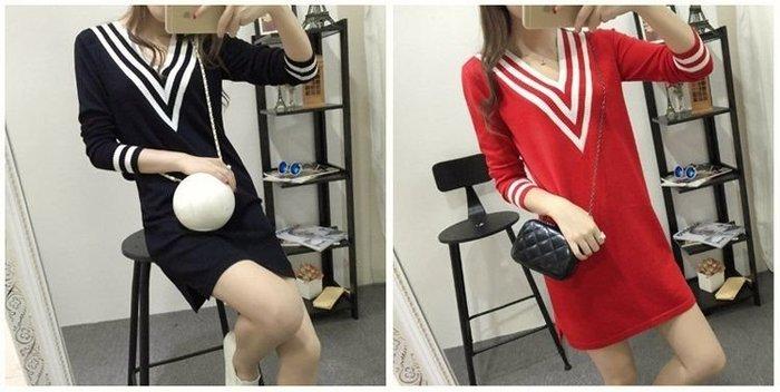 【現貨出清】大v領針織修身開衩洋裝 連衣裙 上衣連衣裙