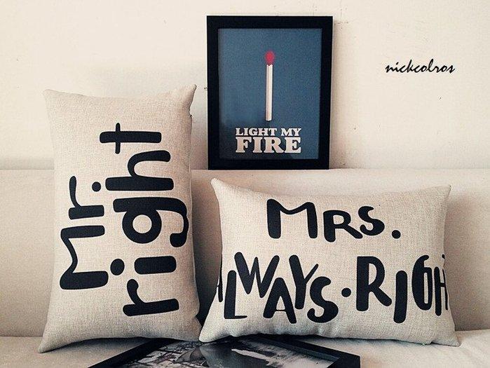 尼克卡樂斯~Mr.&Mrs情侶款棉麻抱枕 靠枕 枕墊 靠墊 腰靠 沙發抱枕 客廳抱枕 臥房抱枕 臥榻靠枕 枕頭