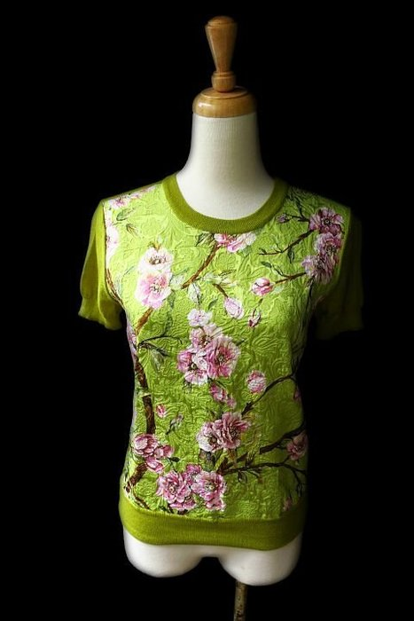 *Beauty*DOLCE&GABBANA芥末綠刺繡花中國風短袖針織衫Made in Italy EUR36號