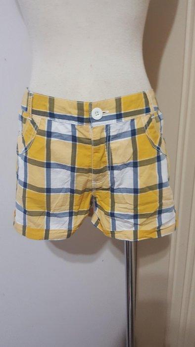 五月天阿信潮牌STAYREAL品牌黃藍格紋棉質反摺休閒短褲M號(實量33腰適L)*250元直購價*