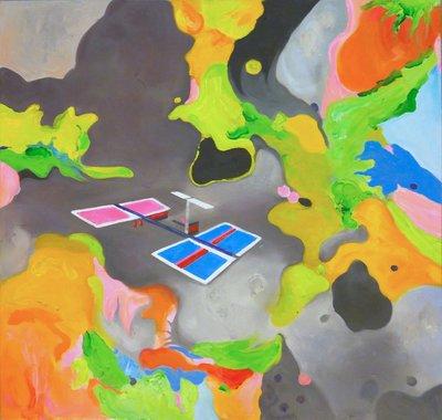 TCP作品【artificial sentiments】油畫CE-0033 無框畫 抽象畫 當代藝術 人造衛星