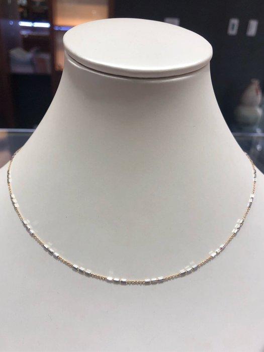 義大利585 14K金項鍊,雙色白K金配上玫瑰金項鍊,顏色漂亮閃亮質感超棒,超值優惠價3280