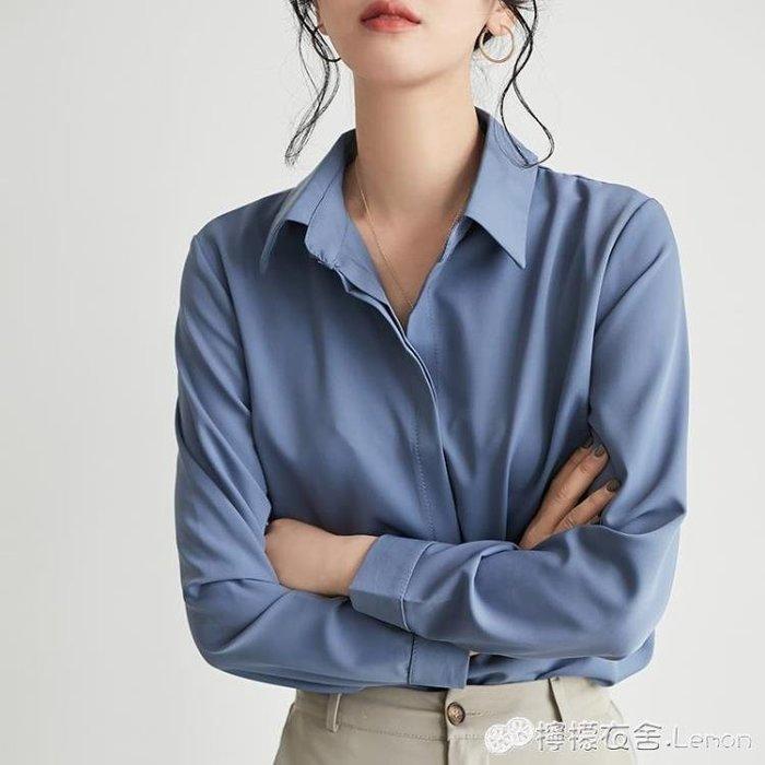 襯衫 白襯衫女春秋新款韓范氣質純色韓版長袖雪紡襯衣OL氣質打底衫上衣 好康免運