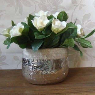 INPHIC-鍍鉻陶瓷花瓶 銀色橢圓形花瓶 花器