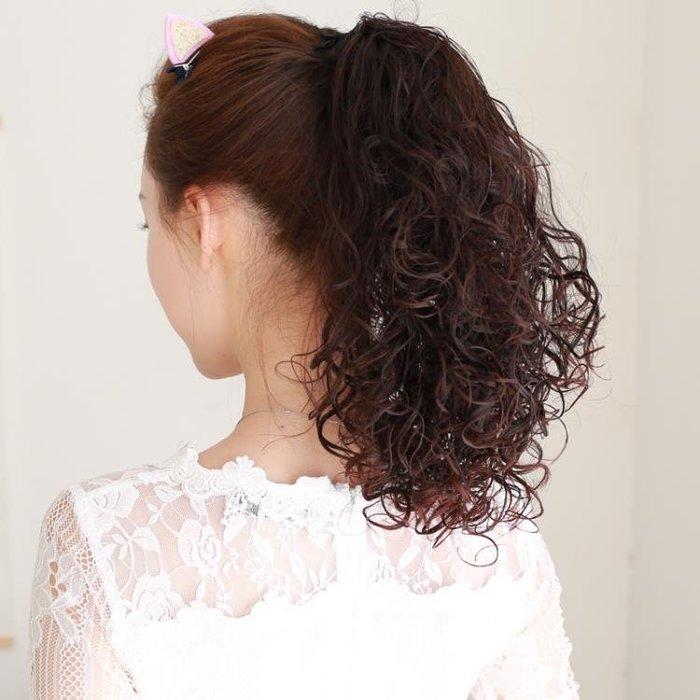 假馬尾短捲髮假髮女馬尾綁帶式帶膠梨花捲短髮假髮片短版假大波浪長捲髮