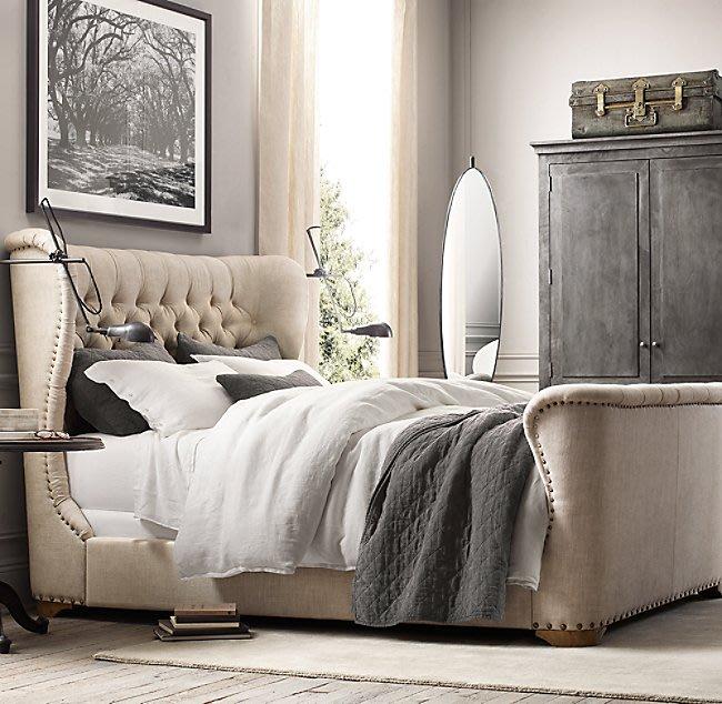 法式餐桌藝術 復古RH正品床架組 180x200cm 床墊適用