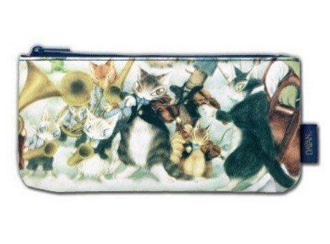 [瑞絲小舖]~日單dayan達洋貓WachiField瓦奇菲爾德貓咪演奏會雙面小物包 收納包 化妝包 收納袋 筆袋