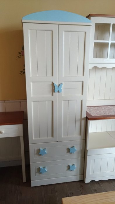 戀戀小木屋 星星小孩衣服櫃  粉嫩天空藍   原木櫃