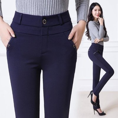 中老年女褲新款媽媽褲子直筒西褲高腰寬鬆中年休閒保暖加絨 DN18596