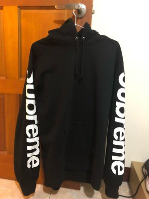 尺寸 L 2018 Supreme Sideline Hooded Sweatshirt 雙臂Logo字體 帽踢 連帽