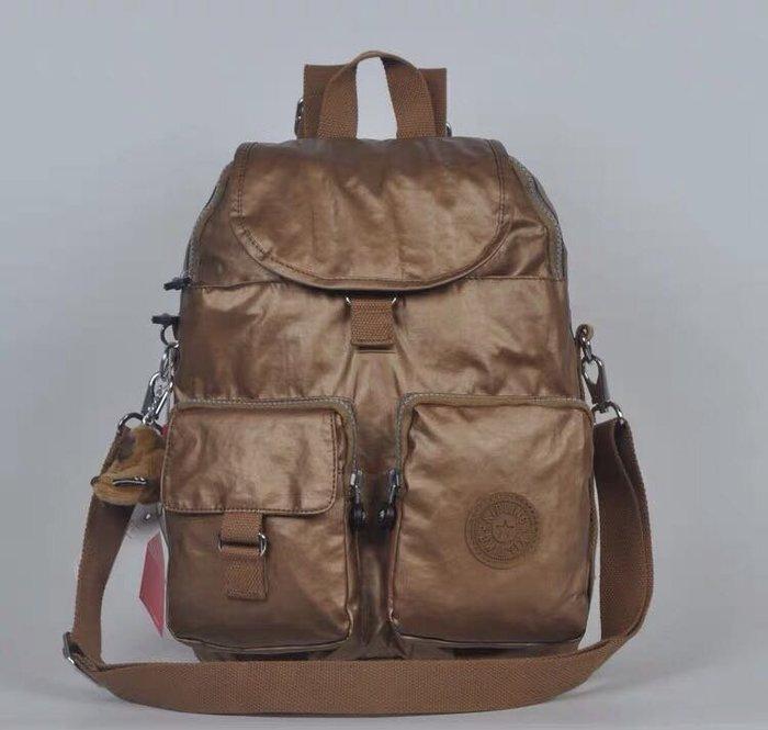 Kipling 猴子包 礦金 多口袋掀蓋拉鍊款輕量雙肩後背包 肩背/手提包 中款 限時優惠 防水