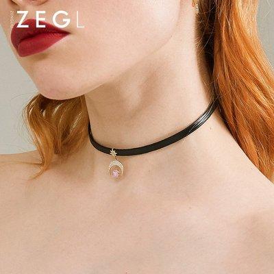 現貨星月月亮項鏈女潮鎖骨鏈短款頸帶網紅項圈脖子飾品