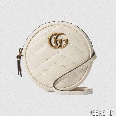 【WEEKEND】 GUCCI GG Marmont Mini 迷你 圓包 皮夾 短夾 卡夾 零錢包 白色 625547