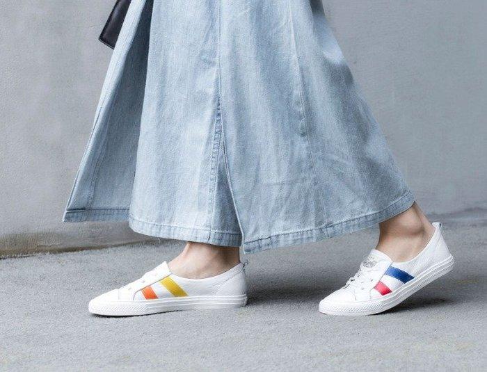 日暮瓦宅 KC261 韓國清新簡約顏色邊條真皮平底鞋休閒鞋