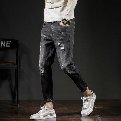 唐獅2018春新款破洞牛仔褲男修身小腳黑色九分褲男9分褲韓版潮流