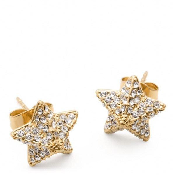 破盤清倉大降價!全新美國名牌 COACH 可愛金字塔立體星形鑲鑽小星星穿式耳環,低價起標無底價!本商品免運費!