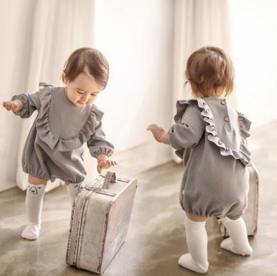 嬰幼童0-3歲 長袖三角包屁衣韓版潮外出連體衣 公主長爬服 哈衣 莎芭