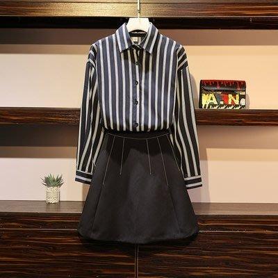 XL-5XL棉花糖新款女裝大碼秋款胖妹妹條紋襯衣寬鬆顯瘦短裙兩件套女8278.4F096