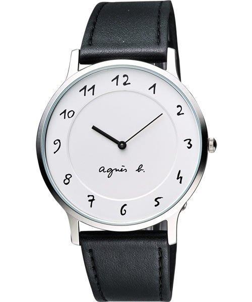 agnes b. 法國時尚經典中性腕錶-白面/黑皮帶 VJ20-K240LB(BJ5004X1)