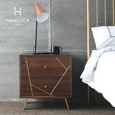 【苏漫家居】含運 涵客家居丨輕奢臥室簡約現代黑胡桃黃銅儲物收納  BULLION床頭柜