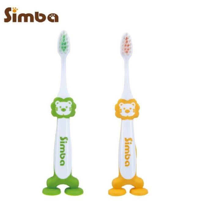 ☆天才老爸☆→【Simba 小獅王辛巴】不倒翁牙刷(橘/綠) 兒童 牙刷 牙膏 衛生 蛀牙 漱口杯 吸盤 托嬰 用品