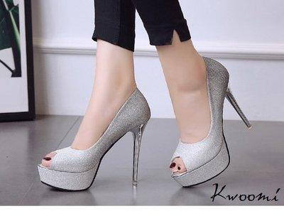 魚口高跟鞋 璀璨華麗細跟亮粉百搭款 晚宴鞋 新娘鞋*Kwoomi-A91