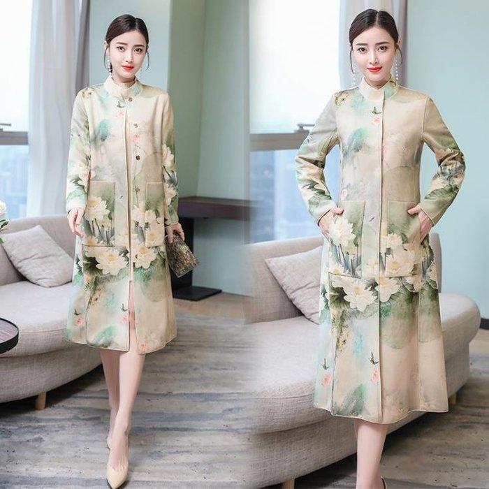 秋冬裝流行設計新款中國風時尚印花顯瘦麂皮絨外套中長款洋裝